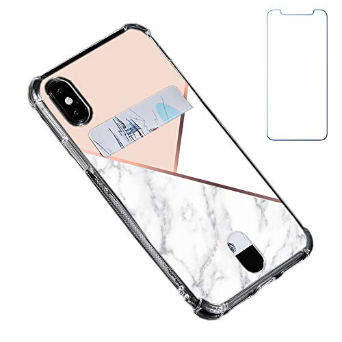 Oddss Case Compatible for iPhone Xs/X 10(5.8 inch) with Card Holder Slot Ultra-Slim Thin Soft TPU Clear Wallet Cover Compatible for iPhone XS/X/10 with Screen Protector (Pink White Marble)