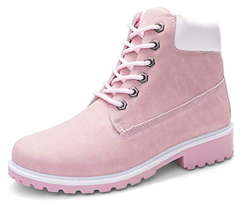 DADAWEN Women's Lace Up Low Heel Work Combat Boots Waterproof Ankle Bootie Pink US Size 8