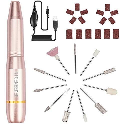 NICENEEDED Electric Nail Drill for Acrylic Gel Nails, 20000 RPM USB Portable Nail Drill Machine Kit, Professional Compact Efile Nail File Kit with 11Pcs Nail Drill Bits and 16Pcs Sanding Bands