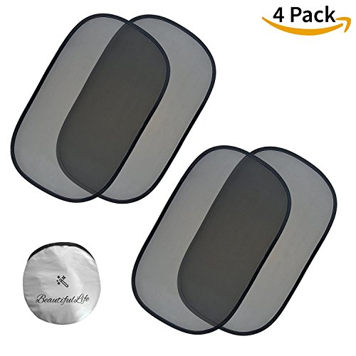 Car Window Shade (4 Pack) | 80GSM Grade Baby Car Sun Shade - Maximum UV Ray, Sun Glare and Heat Protection for Kids and Pets - 4px 20