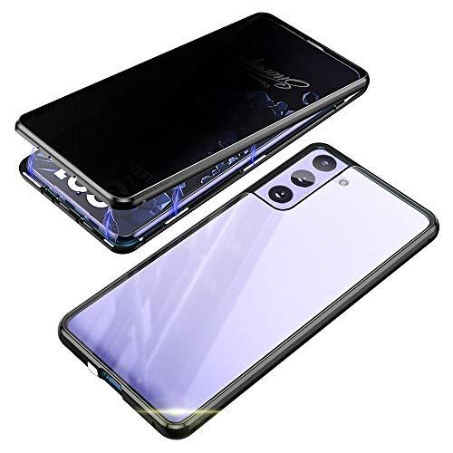 Jonwelsy Anti-Spy Cover per Samsung Galaxy S21 Plus, 360 Gradi Protezione Case, Privacy Vetro Temperato Anti Peep Custodia, Adsorbimento Magnetico Bumper Metallo Frame per Samsung S21+ (Nero)