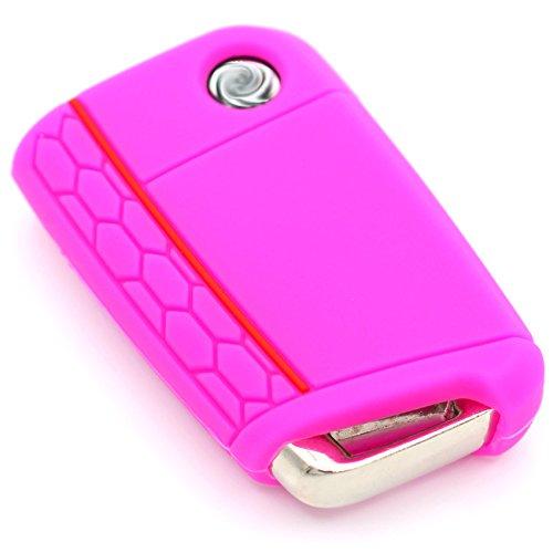 Schlüssel Hülle VB für 3 Tasten Auto Schlüssel Silikon Cover Schlüsselhülle Etui Schutzhülle (Neon Pink)