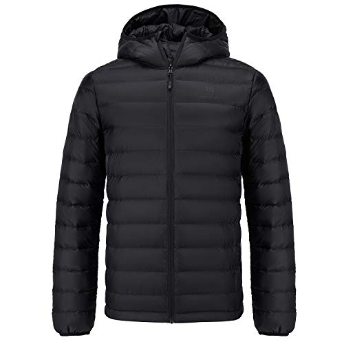 CAMEL CROWN Men's Packable Down Jacket Lightweight Insulated Hooded Winter Puffer Coat Water Resistant Black XL