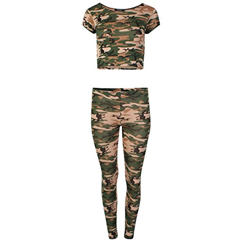 Momo Fashions Dames Meisjes Cropped Camo Crop Top Leggings Loungewear Set UK 8-14