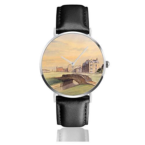 Andrews Golf Course Escocia 18º agujero reloj de cuarzo movimiento impermeable correa de reloj de cuero para hombres y mujeres simple reloj casual de negocios