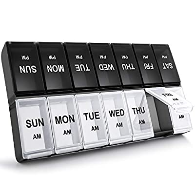 XL Weekly Pill Organizer 2 Times A Day, Gelibo Large Daily Pill Cases Boxes 2020 Edition for Vitamin/Fish Oil/Pills/Supplements-Arthritis Friendly