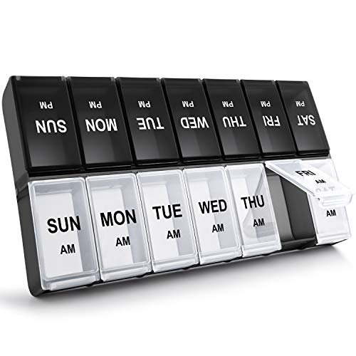 XL Weekly Pill Organizer 2 Times A Day, Gelibo Extra Large Daily Pill Cases Boxes for Vitamin/Fish Oil/Pills/Supplements-Arthritis Friendly