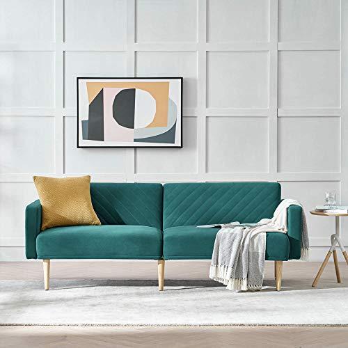 Green Velvet Sofa Sleeper Bed,JULYFOX 77.5 inch Mid Century Modern Couch Sofa Futon Set Reclining Back Heavy Duty for Living Room Bedroom Office Guest Room