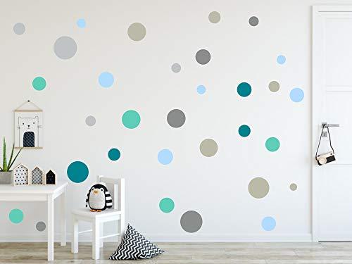 timalo® 120 Stück Wandtattoo Kinderzimmer Kreise Pastell Wandsticker – Aufkleber Punkte | 73078-SET9-120