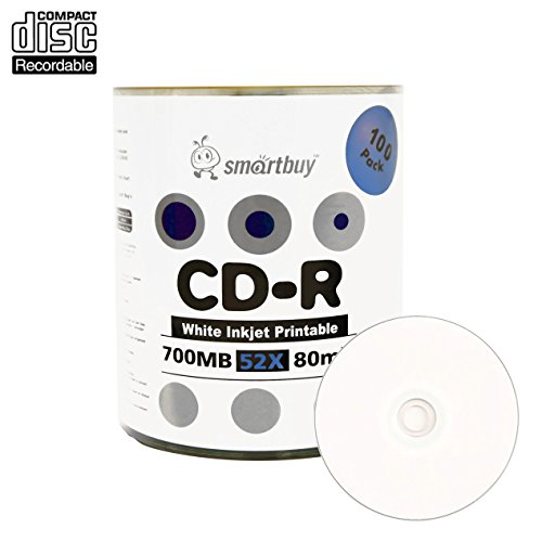 Smartbuy 700mb/80min 52x CD-R White Inkjet Hub Printable Blank Recordable Media Disc (100-Disc)
