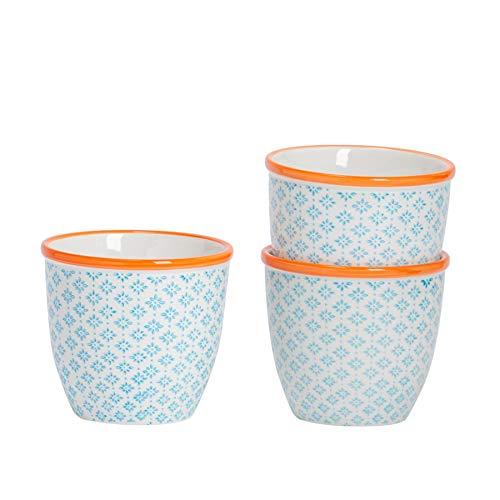 Nicola Spring Macetero de Porcelana - para Exteriores e Interiores - Estampado Azul/Naranja - Pack...