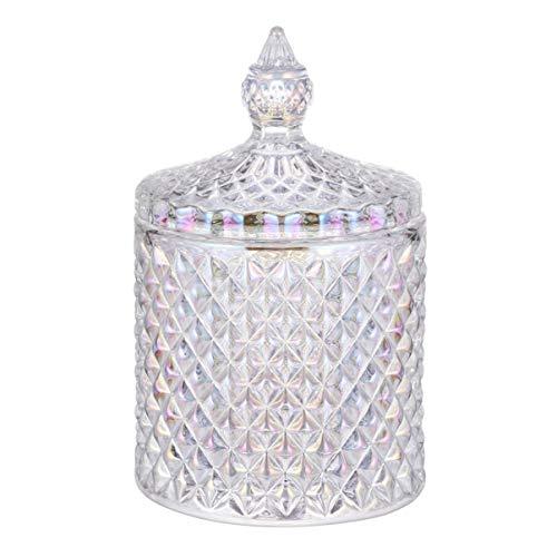 Hemoton Caja de Caramelos de Cristal, Platos de Caramelo Colorido Con Tapas, Bomboneras de Cristal con Tapa, Bombonera para Caramelos, Galletas, Golosinas, Dulces de Cristal - 8.5 x 8.5 x 14cm