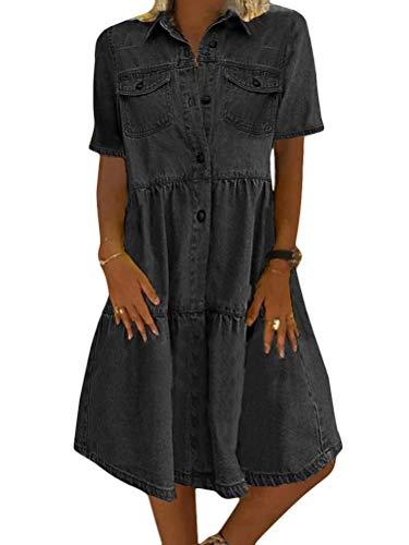 Tomwell Jeanskleid Sommerkleid Damen Jeans Kleider V-Ausschnitt Kurzarm Strandkleider Einfarbig A-Linie Kleid Boho Knielang Kleid Denimkleid A Grau L