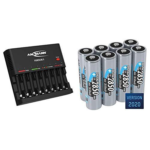 ANSMANN Akku-Ladegerät zum Laden & Entladen von 8X AA/AAA NiMH Akkus - 8-Fach Batterieladegerät mit Einzelschachtüberwachung - Powerline 8 & Akku AA Typ 2850 mAh (min. 2650 mAh) NiMH 1,2 V (8 Stück)