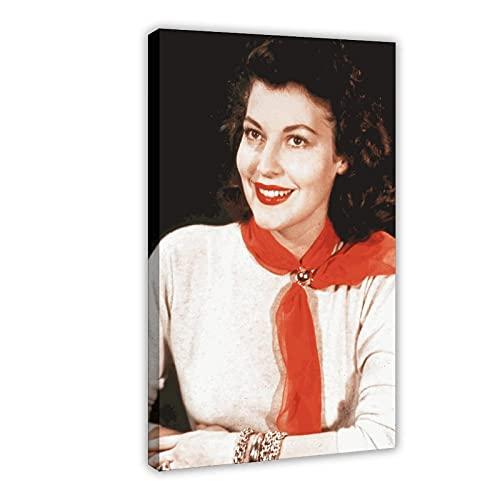 Vintage Beauty Poster Ava Lavinia Gardner 1 Leinwand Poster Wandkunst Dekor Druck Bild Gemälde für Wohnzimmer Schlafzimmer Dekoration Rahmen: 50 × 75 cm