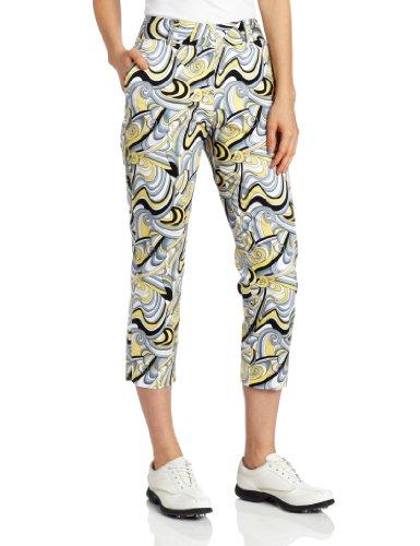 Sport Haley Damen Stretch-Hose mit abstraktem Print, Damen, Daffodil, 8