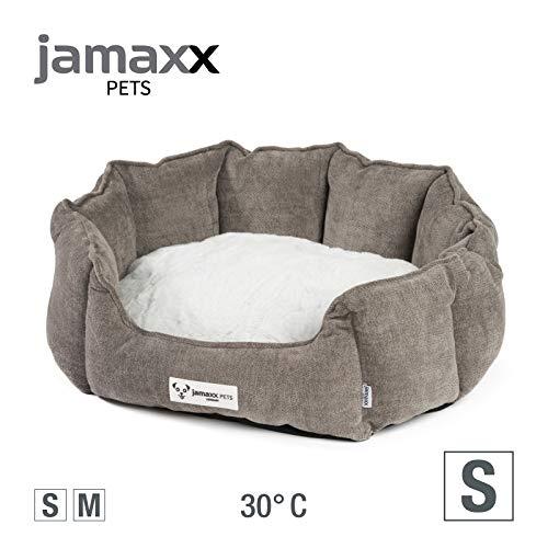 JAMAXX Oval-Rundes Hunde-Körbchen, Kuschelig mit Flauschigem Wendekissen Fell, Hundebett Hunde-Korb mit Extra Hohen Seitenwände, PDB2090 (S) 54x45