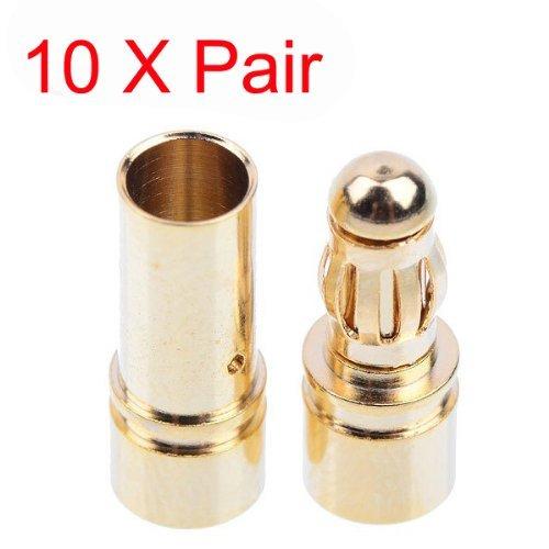10x 3.5mm Gold Bullet Banana Connector Plug For ESC Battery Motor by IRISMARU