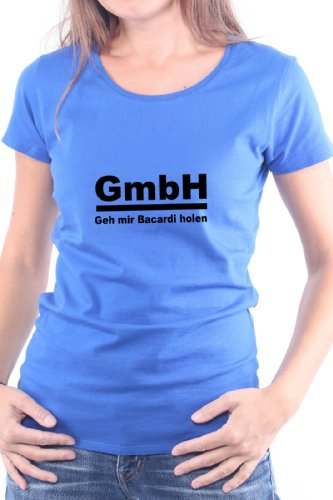 Mister Merchandise Cooles Damen T-Shirt GmbH - GEH Mir Bacardi Holen, Größe: L, Farbe: Royal