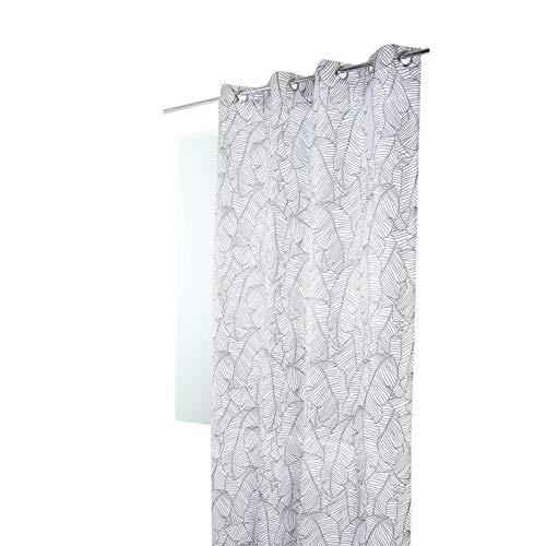 Rideau 140 x 240 cm à Oeillets Imprimé Style Scandinave Motif Feuilles de Bananier Anthracite