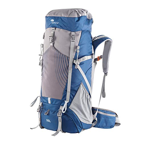Internal Frame Backpack Hiking 55L Women Men Waterproof Outdoor Traveling Backpacking Camping Expandable Multi-function Backpack with Rain Cover for Trekking Mountaineering