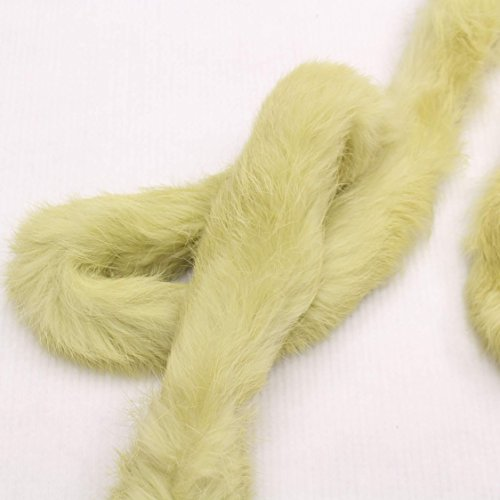 kawenSTOFFE Fellborte Fellband grünbeige hellkhaki zum Einnähen Kanin Paspel