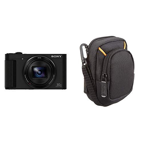 Sony DSC-HX90 Kompaktkamera (30x opt. Zoom, 60x Klarbild-Zoom, 7,5 cm(3 Zoll) Display, 5-Achsen Bildstabilisator, Full HD Video) schwarz & AmazonBasics Kameratasche für Kompaktkameras, mittlere Größe