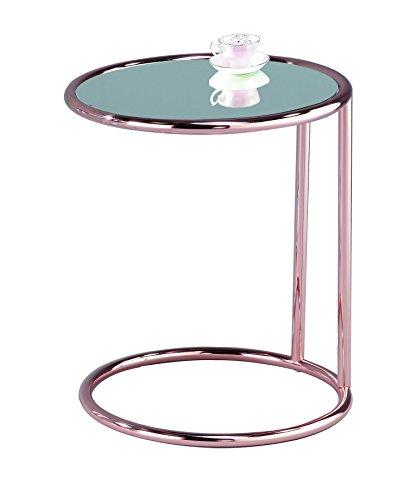 Aspect, Mia. Ronde bijzettafel, salontafel, salontafel, salontafel van spiegelend metaal in koperkleurig.