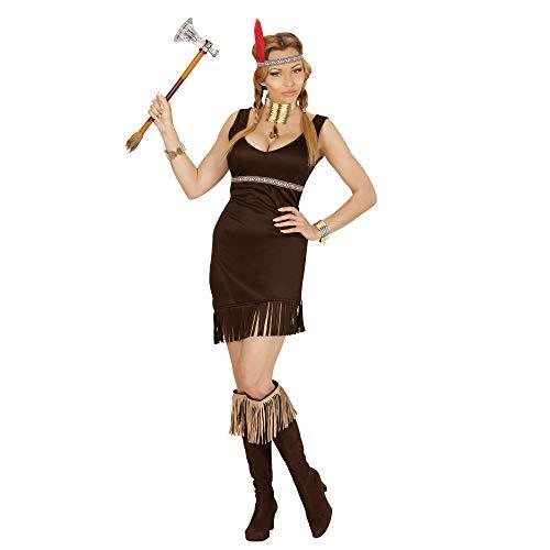 Widmann 02841 - Erwachsenenkostüm Indianerin, Kleid und Kopfband mit Feder, schwarz, Größe S