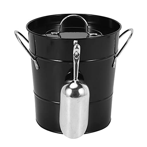 WZHZJ Thickened Tin Bucket with Lid Ice Bucket Portable Round Small Ice Bucket Bar Beer Bucket Ice Cube Container