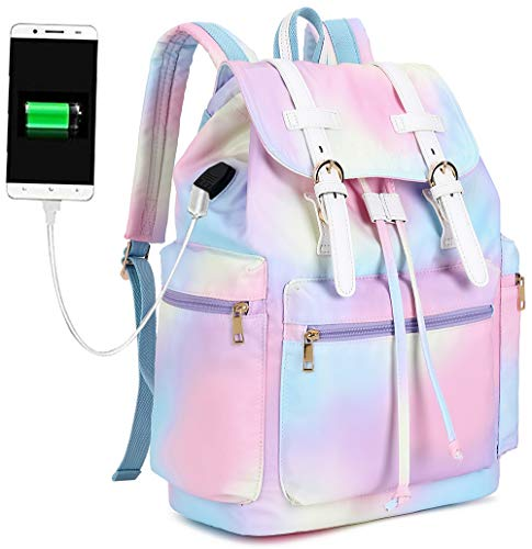 BLUBOON Women Backpack Laptop Leather Trim Casual Bookbag Ladies Travel Rucksack (Rainbow)