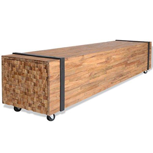 vidaXL Teak TV Schrank mit 4 Rädern Fernsehtisch Fernsehschrank Lowboard TV Möbel Tisch Board Sideboard HiFi-Schrank Couchtisch 150x30x30cm