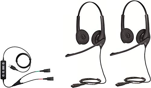 Lowest Prices! Soft Phone/PC USB Training Supervisory Bundle with Two (2) Biz 1500 Duo QD Headsets and USB Training Cable