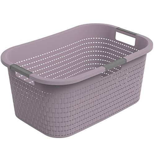 Rotho Country Cestino per il bucato 40l, Plastica (PP) senza BPA, malva, 40l (58.0 x 38.9 x 25.1 cm)
