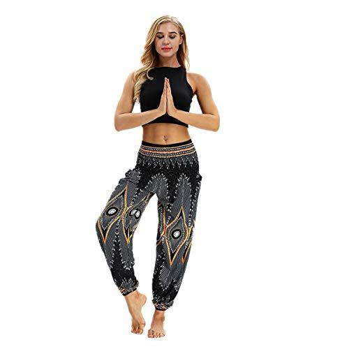 VENMO Hose Männer Frauen beiläufige lose Hippy Yoga Baggy Aladin Haremshose Yoga Hosen Baggy Hippie Boho Hose Hosenrock Aladinhose Jeanshose Pumphose Pluderhosen für Damen (Black, ONE Size)