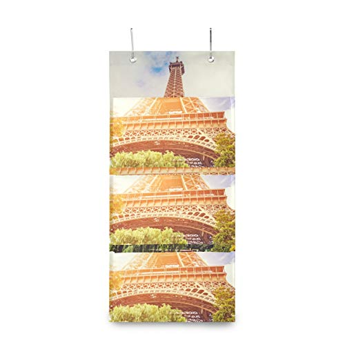 SHNUFHBD 4 Grids Wall Hanging Storage Bags,Beautiful Eiffel Tower Seen Storage Bag Over The DoorBag with 2 Easy Access Durable Metal Hooks,Space Saver Bags Suitable for Living Room, Bedroom, Etc