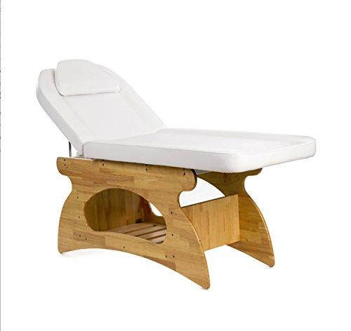 Lettino Massaggio in Legno con Ripiano e Foro Facciale per Centro Estetico, Centro Benessere e Spa
