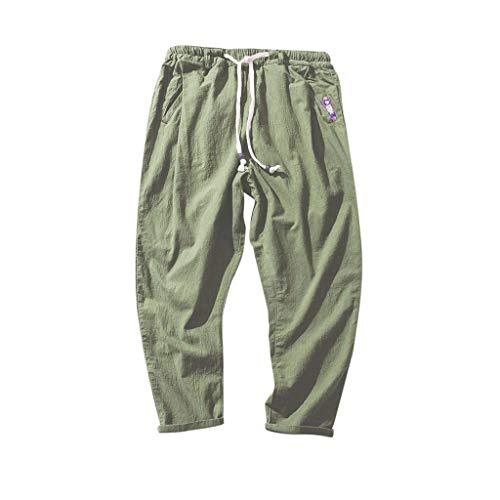 Rmoon Pantaloni di Lino Uomo Baggy Casual Pantaloni Uomo Comodi Pantaloni alla Turca per Uomo E Pantaloni Cavallo Basso per Completare L'Abbigliamento Etnico Pantaloni (Army Green, M)