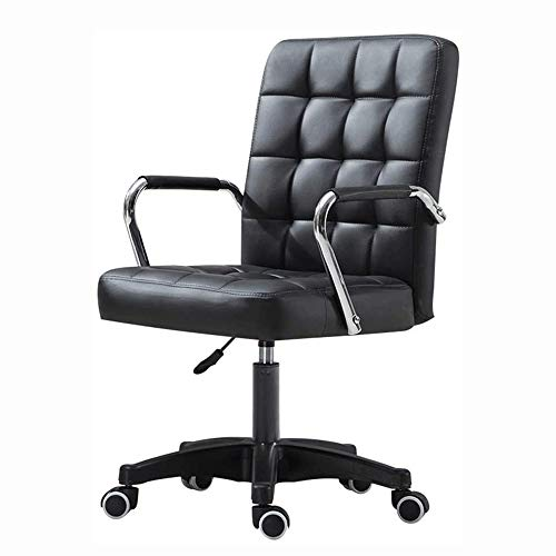 Bureaustoelen met wielen/armleuningen Modern PU lederen bureaustoel middenrug Verstelbare computer thuis Executive Chair on wheels 360 ° Swivel (Color : Black)