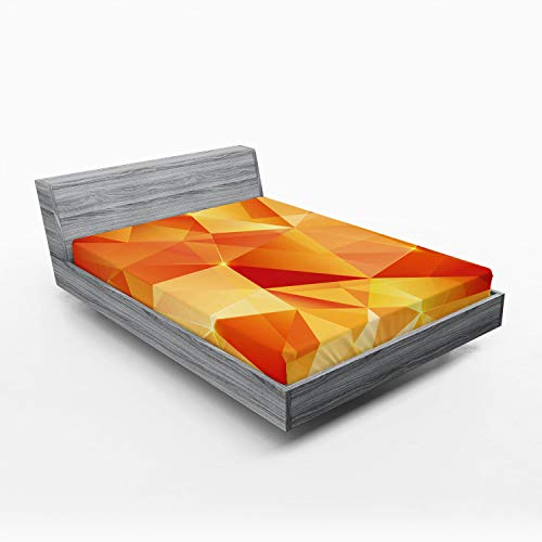 Ambesonne Abstract Fitted Sheet, Abstract Art Style Geometric Theme Vector Illustration of Triangles Print, Soft Decorative Fabric Bedding All-Round Elastic Pocket, Queen Size, Orange Yellow