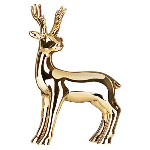 VOSAREA Estatuillas de Ciervo Dorado Esculturas de Porcelana Estatuas Decoración de Cerámica Conjunto de Animales Adornos Artesanales Decoración del Hogar Alce Navideño Ciervo Reno
