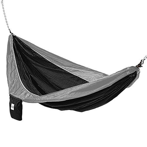 Hammaka Parachute Silk Lightweight Portable Double Hammock, Black/Grey