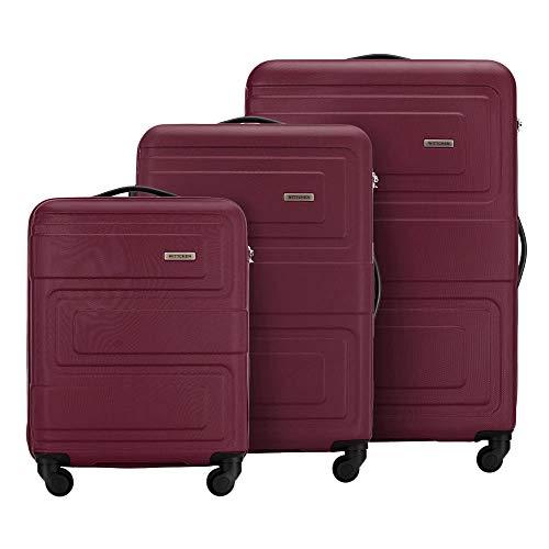 WITTCHEN Koffer – Set of 3   hartschalen, Material: ABS   hochwertiger und Stabiler   Burgundy   Verschiedene Größen