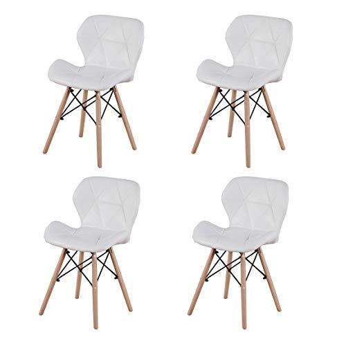 LUCKEU Silla de comedor minimalista clásica con patas de madera de lino, marco de metal para cocina, sala de estar, juego de 4/8 (cuero blanco, 4)