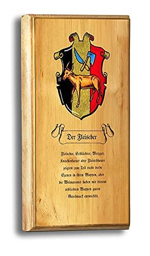 Kunstdruck Der Fleischer Butcher Bone Pine Zirbenholz Arve Nostalgieschild Zunftwappen 076
