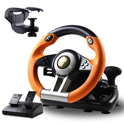 HPH Rueda De Carreras De Juego,Volante De Competición De 180° con Puerto USB Universal Y con Pedal,para PC PS3 PS4 Xbox,Naranja