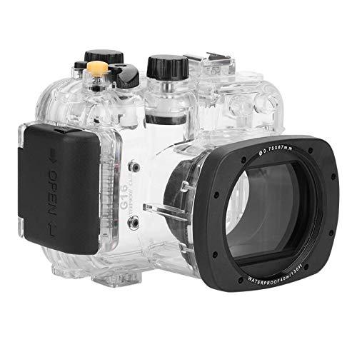 Zunate Estuche para cámara de Buceo, 40 m 130 pies Carcasa Protectora para cámara de Buceo Submarino Carcasa Impermeable Carcasa Impermeable para cámara Deportiva SLR, para Canon G16