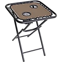Living Accents Bungee Square Brown Folding Table (Black)