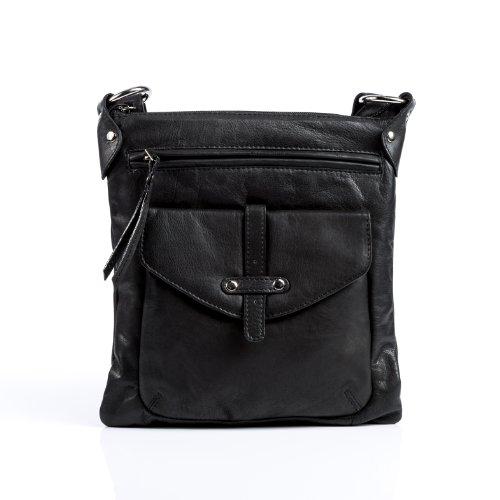 BACCINI Umhängetasche echt Leder SUE klein Schultertasche Handtasche mit Schultergurt Ledertasche Damen schwarz