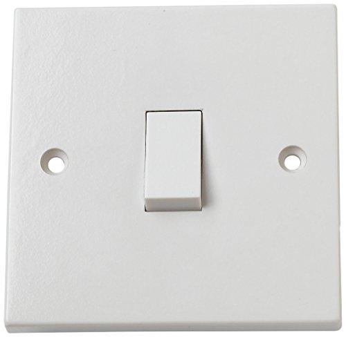 Merriway BH02606 Rocker 10amp Single Electric Wall Switch 1-Gang 1-Way - White